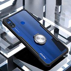 Coque Contour Silicone et Vitre Transparente Miroir 360 Degres avec Support Bague Anneau Aimante Magnetique pour Huawei Honor 8X Noir