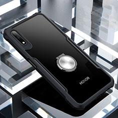 Coque Contour Silicone et Vitre Transparente Miroir 360 Degres avec Support Bague Anneau Aimante Magnetique pour Huawei Honor 9X Noir