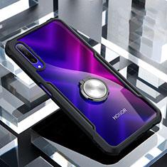 Coque Contour Silicone et Vitre Transparente Miroir 360 Degres avec Support Bague Anneau Aimante Magnetique pour Huawei Honor 9X Pro Noir