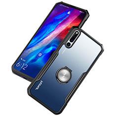 Coque Contour Silicone et Vitre Transparente Miroir 360 Degres avec Support Bague Anneau Aimante Magnetique pour Huawei Honor Magic 2 Noir