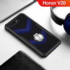 Coque Contour Silicone et Vitre Transparente Miroir 360 Degres avec Support Bague Anneau Aimante Magnetique pour Huawei Honor V20 Noir