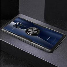 Coque Contour Silicone et Vitre Transparente Miroir 360 Degres avec Support Bague Anneau Aimante Magnetique pour Huawei Mate 20 Noir
