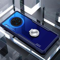 Coque Contour Silicone et Vitre Transparente Miroir 360 Degres avec Support Bague Anneau Aimante Magnetique pour Huawei Mate 30 Bleu
