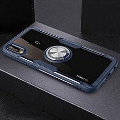 Coque Contour Silicone et Vitre Transparente Miroir 360 Degres avec Support Bague Anneau Aimante Magnetique pour Huawei Nova 3e Bleu
