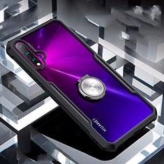 Coque Contour Silicone et Vitre Transparente Miroir 360 Degres avec Support Bague Anneau Aimante Magnetique pour Huawei Nova 5 Pro Noir