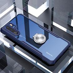 Coque Contour Silicone et Vitre Transparente Miroir 360 Degres avec Support Bague Anneau Aimante Magnetique pour Huawei P30 Pro Bleu