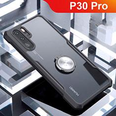 Coque Contour Silicone et Vitre Transparente Miroir 360 Degres avec Support Bague Anneau Aimante Magnetique pour Huawei P30 Pro Noir