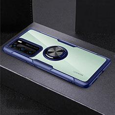 Coque Contour Silicone et Vitre Transparente Miroir 360 Degres avec Support Bague Anneau Aimante Magnetique pour Huawei P40 Bleu