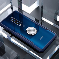 Coque Contour Silicone et Vitre Transparente Miroir 360 Degres avec Support Bague Anneau Aimante Magnetique pour OnePlus 7 Pro Bleu