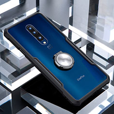 Coque Contour Silicone et Vitre Transparente Miroir 360 Degres avec Support Bague Anneau Aimante Magnetique pour OnePlus 7 Pro Noir