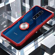 Coque Contour Silicone et Vitre Transparente Miroir 360 Degres avec Support Bague Anneau Aimante Magnetique pour OnePlus 7 Pro Rouge