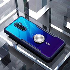 Coque Contour Silicone et Vitre Transparente Miroir 360 Degres avec Support Bague Anneau Aimante Magnetique pour Oppo Reno Ace Bleu