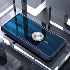 Coque Contour Silicone et Vitre Transparente Miroir 360 Degres avec Support Bague Anneau Aimante Magnetique pour Oppo Reno Bleu