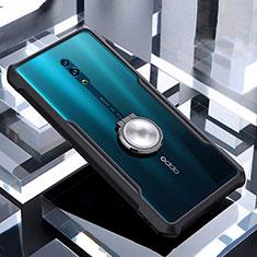Coque Contour Silicone et Vitre Transparente Miroir 360 Degres avec Support Bague Anneau Aimante Magnetique pour Oppo Reno Noir
