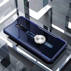 Coque Contour Silicone et Vitre Transparente Miroir 360 Degres avec Support Bague Anneau Aimante Magnetique pour Oppo Reno2 Bleu