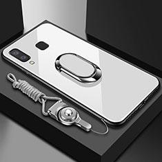 Coque Contour Silicone et Vitre Transparente Miroir 360 Degres avec Support Bague Anneau Aimante Magnetique pour Samsung Galaxy A6s Blanc
