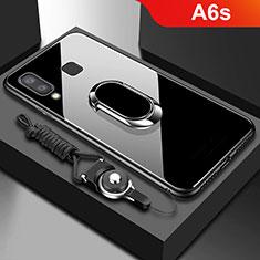 Coque Contour Silicone et Vitre Transparente Miroir 360 Degres avec Support Bague Anneau Aimante Magnetique pour Samsung Galaxy A6s Noir
