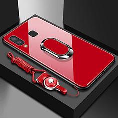 Coque Contour Silicone et Vitre Transparente Miroir 360 Degres avec Support Bague Anneau Aimante Magnetique pour Samsung Galaxy A6s Rouge