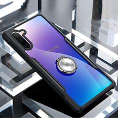 Coque Contour Silicone et Vitre Transparente Miroir 360 Degres avec Support Bague Anneau Aimante Magnetique pour Samsung Galaxy Note 10 Noir