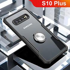 Coque Contour Silicone et Vitre Transparente Miroir 360 Degres avec Support Bague Anneau Aimante Magnetique pour Samsung Galaxy S10 Plus Noir