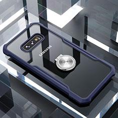 Coque Contour Silicone et Vitre Transparente Miroir 360 Degres avec Support Bague Anneau Aimante Magnetique pour Samsung Galaxy S10e Bleu