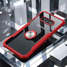 Coque Contour Silicone et Vitre Transparente Miroir 360 Degres avec Support Bague Anneau Aimante Magnetique pour Samsung Galaxy S10e Rouge
