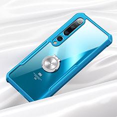 Coque Contour Silicone et Vitre Transparente Miroir 360 Degres avec Support Bague Anneau Aimante Magnetique pour Xiaomi Mi 10 Bleu