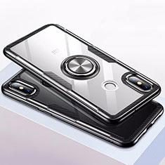 Coque Contour Silicone et Vitre Transparente Miroir 360 Degres avec Support Bague Anneau Aimante Magnetique pour Xiaomi Mi 8 Noir