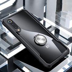Coque Contour Silicone et Vitre Transparente Miroir 360 Degres avec Support Bague Anneau Aimante Magnetique pour Xiaomi Mi 9 SE Noir