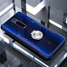 Coque Contour Silicone et Vitre Transparente Miroir 360 Degres avec Support Bague Anneau Aimante Magnetique pour Xiaomi Mi 9T Pro Bleu