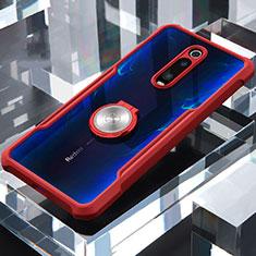 Coque Contour Silicone et Vitre Transparente Miroir 360 Degres avec Support Bague Anneau Aimante Magnetique pour Xiaomi Mi 9T Rouge