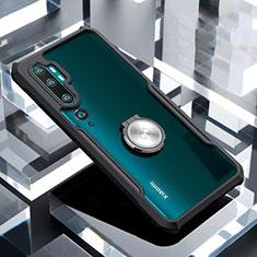 Coque Contour Silicone et Vitre Transparente Miroir 360 Degres avec Support Bague Anneau Aimante Magnetique pour Xiaomi Mi Note 10 Pro Noir