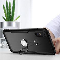 Coque Contour Silicone et Vitre Transparente Miroir 360 Degres avec Support Bague Anneau Aimante Magnetique pour Xiaomi Redmi Note 6 Pro Noir