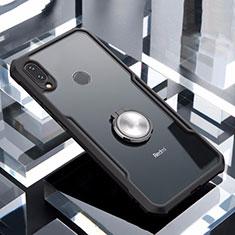 Coque Contour Silicone et Vitre Transparente Miroir 360 Degres avec Support Bague Anneau Aimante Magnetique pour Xiaomi Redmi Note 7 Noir