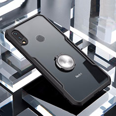 Coque Contour Silicone et Vitre Transparente Miroir 360 Degres avec Support Bague Anneau Aimante Magnetique pour Xiaomi Redmi Note 7 Pro Noir