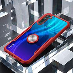 Coque Contour Silicone et Vitre Transparente Miroir 360 Degres avec Support Bague Anneau Aimante Magnetique pour Xiaomi Redmi Note 8T Rouge