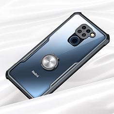 Coque Contour Silicone et Vitre Transparente Miroir 360 Degres avec Support Bague Anneau Aimante Magnetique pour Xiaomi Redmi Note 9 Noir