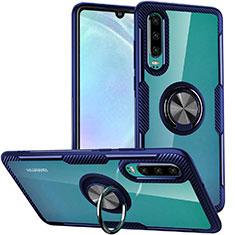 Coque Contour Silicone et Vitre Transparente Miroir 360 Degres avec Support Bague Anneau Aimante Magnetique S01 pour Huawei P30 Bleu