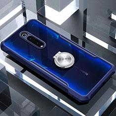 Coque Contour Silicone et Vitre Transparente Miroir 360 Degres avec Support Bague Anneau Aimante Magnetique T01 pour Xiaomi Mi 9T Pro Bleu