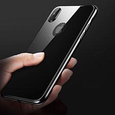 Coque Contour Silicone et Vitre Transparente Miroir 360 Degres C01 pour Apple iPhone X Noir