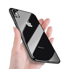 Coque Contour Silicone et Vitre Transparente Miroir 360 Degres C02 pour Apple iPhone X Noir