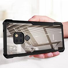 Coque Contour Silicone et Vitre Transparente Miroir 360 Degres pour Huawei Mate 20 Noir