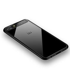 Coque Contour Silicone et Vitre Transparente Miroir 360 Degres pour OnePlus 5 Noir