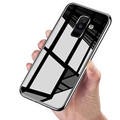 Coque Contour Silicone et Vitre Transparente Miroir 360 Degres pour Samsung Galaxy A6 Plus Noir