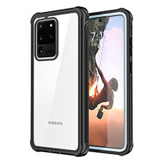 Coque Contour Silicone et Vitre Transparente Miroir 360 Degres pour Samsung Galaxy S20 Ultra 5G Noir