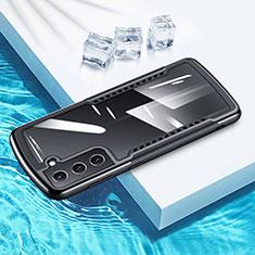 Coque Contour Silicone et Vitre Transparente Miroir 360 Degres pour Samsung Galaxy S21 Plus 5G Noir