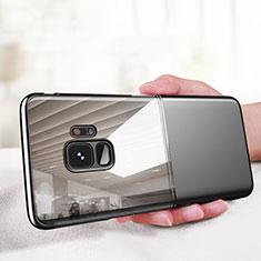 Coque Contour Silicone et Vitre Transparente Miroir 360 Degres pour Samsung Galaxy S9 Noir