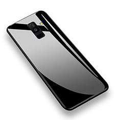 Coque Contour Silicone et Vitre Transparente Miroir 360 Degres T02 pour Samsung Galaxy A6 Plus Noir