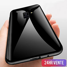 Coque Contour Silicone et Vitre Transparente Miroir 360 Degres T03 pour Samsung Galaxy A9 Star Lite Noir