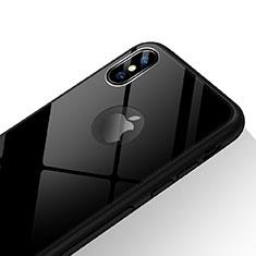 Coque Contour Silicone et Vitre Transparente Miroir 360 Degres T15 pour Apple iPhone Xs Noir